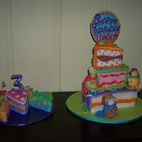 Wonder Pets Birthday All covered in fondant. The Wonder Pets figures are gumpaste. They each have a little slice of cake in their hand, too. It was fun to make...
