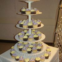 Lilac And Yellow Calla Cupcakes These go with the little two tier!