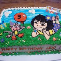 Dora Birthday Cake This is a Dora Birthday cake I made for my grandaughters 3rd Birthday. Chocolate cake with buttercream, some not edible decorations added