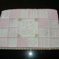 Baby Girl Quilt we needed a lot of cake for a large shower so this was a simple and easy design. all buttercream