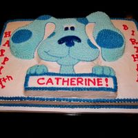 Blue's Clues I used the Wilton character pan for Blue and then placed it on a sheet cake because they were having a large party and needed a lot of cake...