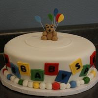 Primary Colors Baby Shower All FondX fondant covered chocolate cake;-)Bear and balloons are FondX too.