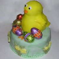 Easter Chicken Chocolate cake with chocolate eggs