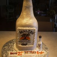 Malibu Rum 21St B-Day This is a malibu bottle sculpted white cake with butter cream icing.