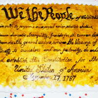 "U.s. Constitution Day This is a full sheet cake made with quarter sheet scroll of ""we the people"" Hand painted on fondant. Scroll with food color using..."