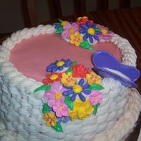 Butterfly And Flowers my first attempt at basketweave. if I hadn't had such trouble with the cake to begin with (let's just say the base frosting color...
