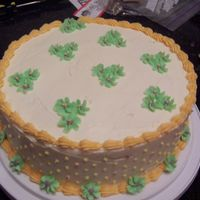 First Cake - A St. Patty's Day Theme I Guess First cake from class... wasn't planning on doing green flowers but heck - St. Patty's day is coming up, right?! Ha!