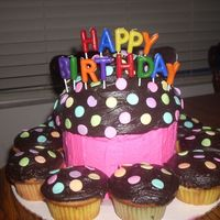 Giant Cupcake With Matching Regular Size Cupcakes  for my best pal's bday, a super sized cupcake and matching cupcakes; Cake Doctor's best birthday cake recipe with chocolate...