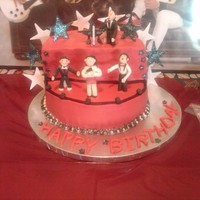 Rock Star Cake Rock star cake with Selena Gomez and the Jonas Brothers - made red, black and white at my daughter's request for her 5th birthday