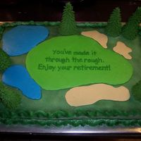 Golf Retirement Cake Two 11x15 put together, butter and chocolate. RI ice cream cone trees, the rest is BC, airbrushed borders.