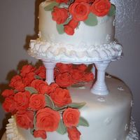 Wilton Course 3 Finale two-layer 10x2 & 6x2 round French vanilla cakes with BC & MMF; MMF roses