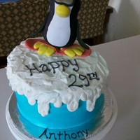 Cool Penguin Butter cake with American buttercream icing and fondant/gum paste penguin.