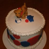 "Dog And Toys This is a 6"" white cake with BC frosting. All decorations are fondant. It was made for a friend to take to a cake walk at their church..."