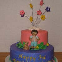 "Diego 10"" and 6"" stacked layers of french vanilla cake covered in butter cream. Diego and all other accents are made out of fondant."
