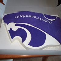 K-State Power Cat WASC covered in buttercream. Purple Powercat is fondant.