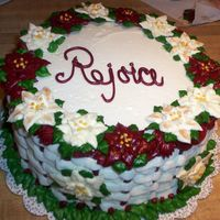 Another Copied Poinsettia Cake I also ripped this idea off a few I saw posted on Cake Central. Everything is buttercream, as I'm far too lazy to screw around with...