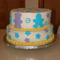 Enoc's   strawberry and cream cake buttercream and fondant accents.