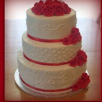 Wedding Cake Wedding cake for a good friend of mine. Royal icing roses the rest butter cream