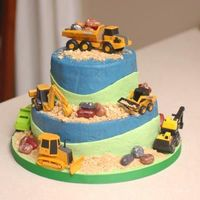 Trucks! A truck cake for my son's second birthday.