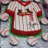 Baseball Birthday A friend's son wanted a baseball theme birthday so this is what we came up with. The cake is the t-shirt pan with buttercream icing....