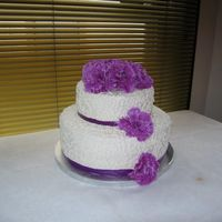 Img_0970.jpg wedding cake, 8, 12 in. carrot cake, corneli lace with purplesilk flowers