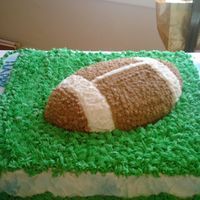 Birthday Avid Little League Football Player sheet cake/with wilton shaped foodball; all buttercream