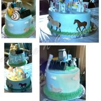 Horse And Farm Tractor Birthday Cake A combination of my neice's and Dad's birthday. I had to try to incorporate 2 different themes, so I chose the horses for my...
