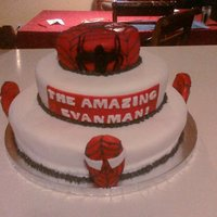 Spiderman Cake chocolate and vanilla cake iced with buttercream and covered in MMF