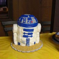 R2D2 Cake I was sad about what happened to this cake but in the end it lasted and was ok. I had just done a cake the day before and was super busy...