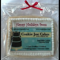 Holiday Business Card Photo Cookie Here is a photo cookie I did using my business card to market for corporate gifts this holiday season.