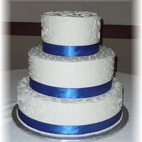 Blue & White Wedding Cake 16, 12, 8 combo iced in buttercream with fabric ribbon, piped swirls and swiss dots and sprayed with lustre.