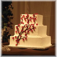Square Cake With Red Cherry Blossom