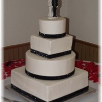 Black And White Cake (Round/square) Buttercream with fabric ribbon