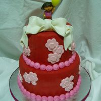 D-D-Dd-D-Dora......... A chocolate and vanilla marble, first time using the pre-colored red satin ice fondant...love it!!! The bow and flowers have super pearl on...