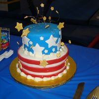 Usa Gymnastics!!! This cake was made for my son's birthday party at a Gymnastics school. I figured the USA colors with the gold stars would go along...
