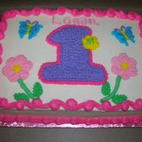 1St Birthday This is a 1/4 sheet strawberry cake with crusting cream cheese icing