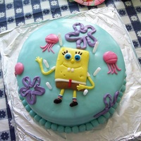 Spongebob   Spongebob and Jellyfish...MMF over buttercream. All decorations aside from flowers are MMF. :)