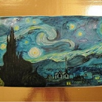 "Van Gogh Starry Night  This is a cake I made for my friends 30th birthday. It is two 10"" squares side by side. One is pumpkin with cream cheese filling and..."