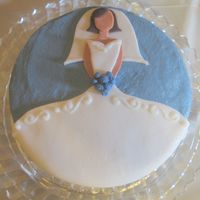 "Soon To Be Bride...  Just a small 6"" vanilla with vanilla buttercream and fondant accents. Thanks to BlueRose8302 and the other wonderful bridal shower..."
