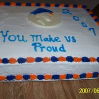 Graduation Cakes  this is my first large cake I made it for a friend who's son graduated this yearIt is a yellow cake with butter cream icing and the...