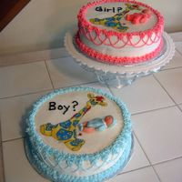 "Will It Be A Boy Or A Girl? This is my second cake project ever! I bought the edible images off Ebay and made the babies from fondant. The ""girl"" is spice..."