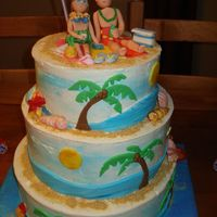 Beach Wedding Thx to everyone for all their help and suggestions. Marble w/fudge filling. BC with fondant accents