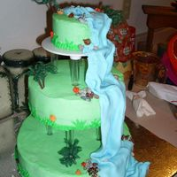 Waterfall Cake Buttercream with fondant waterfall