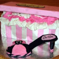 Shoe & Box I made this for my nieces 18th Bday. MMF with a gumpaste shoe. My first time making fondant. Much nicer than GP and my second fondant cake...