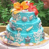 Tropical, Beach & Shells My neice and her groom wanted a tropical cake to match their hawaiian theme. These hibiscus were my first attempt at gumpaste flowers....