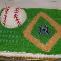 Baseball Field Cake I made this for a friend at works son...He loved it and it was such a simple cake to make, I made the baseball using the wilton sports ball...