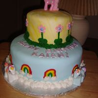 My Little Pony Birthday Cake I made this cake for my daughters 4th birthday party. Cake was snickerdoodle with cream cheese frosting and filling with fondx fondant and...