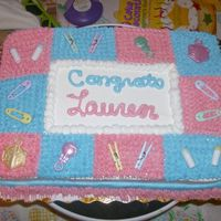 Baby Shower I made this for my boss at work. She didnt know what she was having so I used pink and blue and made it look like a baby blanket. It was a...