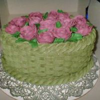 Basket Of Roses  I made this for a friend who saw one of my basketweave cakes and hinted she'd like to have one. It's a lemon cake with...