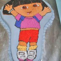 Dora The Explorer Cake   This is my first character cake pan cake ordered by a co-worker for her 3 year old daughter.